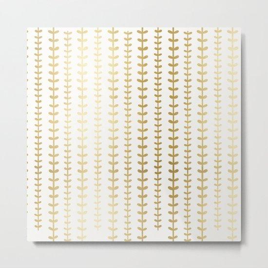 Minimalist gold vines pattern Metal Print