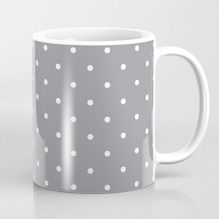 Small White Polka Dots With Grey Background Coffee Mug
