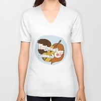 nan lawson V-neck T-shirts featuring Music Is All Around by Nan Lawson