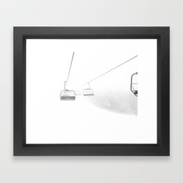 4 Seat Chair Lift Deep Snow B&W Framed Art Print