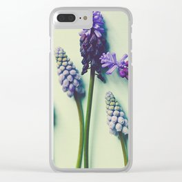 Pretty Blue Flowers Clear iPhone Case