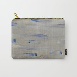 Blue Brush Strokes on Grey Carry-All Pouch