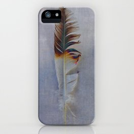 FEATHER PHOTOGRAPHY, FEATHER NATURE PHOTO WALL ART, BIRD FEATHER - GREY TONES iPhone Case
