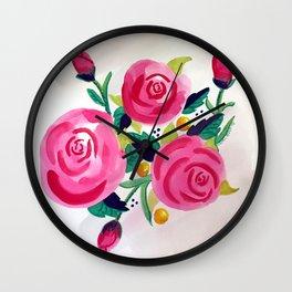 Sweet Pink Watercolor Roses Wall Clock
