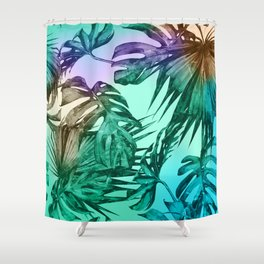 Simply Palm Leaves in Hologram Island Green Shower Curtain