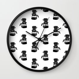 Hario V60 coffee maker linocut black and white drinks pattern kitchen Wall Clock