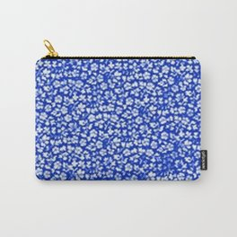 Vintage Flowers Sapphire Blue Carry-All Pouch