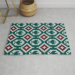 Knitted Green Christmas Pattern Rug