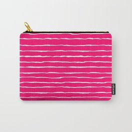 Bright Pink and White Stripes Carry-All Pouch