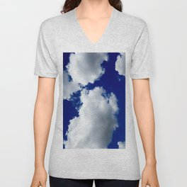 Clear Blue Sky Clouds Unisex V-Neck
