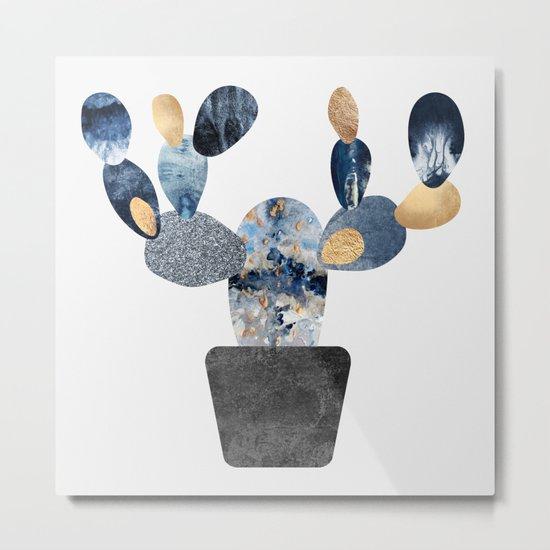 Blue & Gold Cactus Metal Print