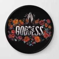 goddess Wall Clocks featuring Goddess by Jillian Adel