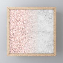 Blush Pink Sparkles on White and Gray Marble Framed Mini Art Print
