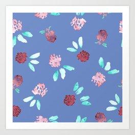 Clover Flowers Pattern on Periwinkle Blue Art Print