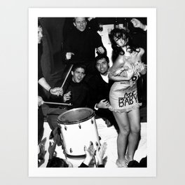 Livin' la Vida Loca, Exuberant Brunette Dancing black and white photograph / photograph Art Print