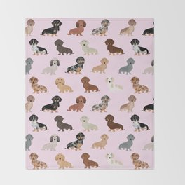 Dachshund dog breed pet pattern doxie coats dapple merle red black and tan Throw Blanket