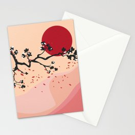Cherry Blossoms Contemporary Abstract Stationery Cards