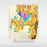 hummingbird Shower Curtains featuring Hummingbird by Design4u Studio