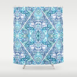 Blue and Teal Diamond Doodle Pattern Shower Curtain