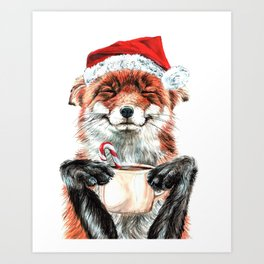 Morning Fox Christmas Art Print