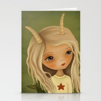 capricorn Stationery Cards featuring Capricorn by The Midnight Rabbit