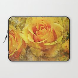 Watercolor Yellow Roses | High Quality On Stretched Canvas Laptop Sleeve