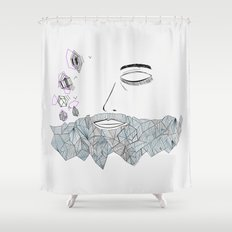 Geometric beard Shower Curtain
