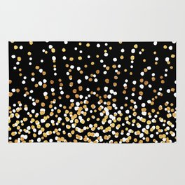 Floating Dots - White and Gold on Black Rug