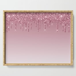 Pink Dripping Glitter Serving Tray