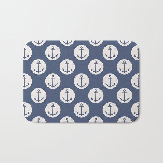 Blue Nautical Ships Anchor Bath Mat