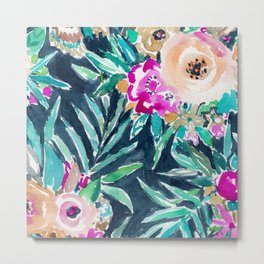 SO CASUAL Dark Tropical Palm Floral Metal Print