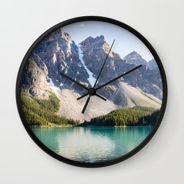 Rocky Mountain Nature - Teal Lake & Mountain Peeks Wall Clock