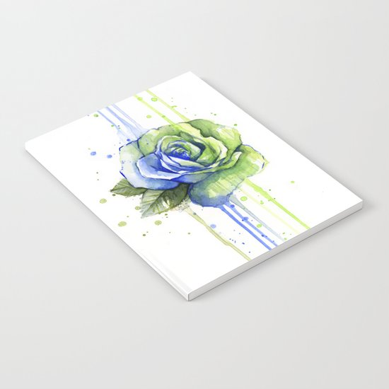 Flower Rose Watercolor Painting 12th Man Art Notebook