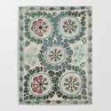 Ferghana Suzani  Northeast Uzbekistan Embroidery Print by vickybragomitchell