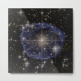 Blue Bubble Nebula Metal Print