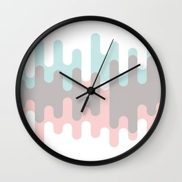 Pastel Pink ,Gray and Blue Liquid Shape Wall Clock