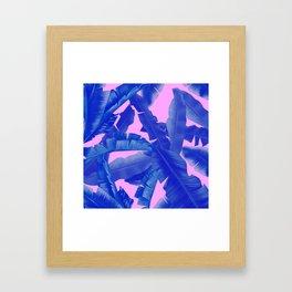 tropical banana leaves pattern,pink,blue Framed Art Print