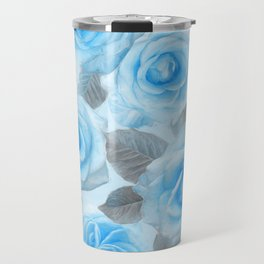 Painted Roses in Blue & Grey Travel Mug