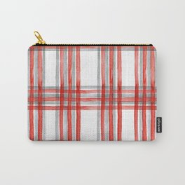 Vintage watercolor tartan hand painted illustration pattern. Checked christmas fabric pattern.  Carry-All Pouch