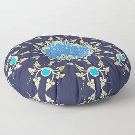 Golden and blue pattern Floor Pillow