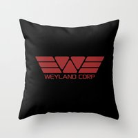 prometheus Throw Pillows featuring PROMETHEUS - Weyland Corp (2093 logo) by La Cantina