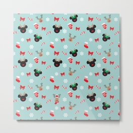 Christmas Mouse Ears Reindeers Metal Print