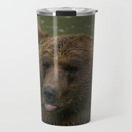Grizzly Blows A Raspberry Travel Mug