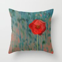 alone Throw Pillows featuring Alone by Klara Acel