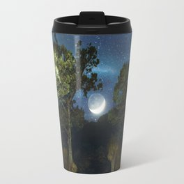 Moonset in coniferous forest Travel Mug