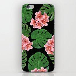 Tropical Floral Print Black iPhone Skin