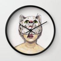 avenger Wall Clocks featuring Masked Avenger by Kyreena Hay