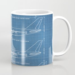 Boeing 747 Family Blueprint in High Resolution (light blue) Coffee Mug