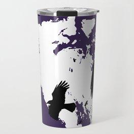 Odin Portrait and Silhouette of Ravens Vector Art Travel Mug
