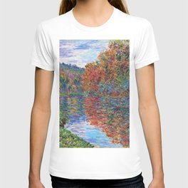 Le bras de Jeufosse, Autumn by Claude Monet T-shirt